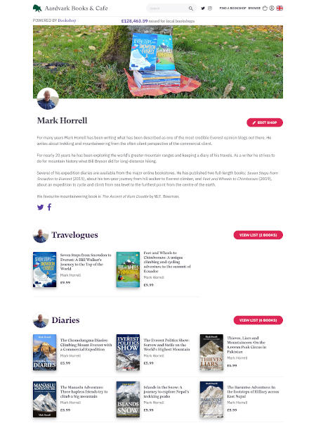 My author store front on Bookshop.org UK