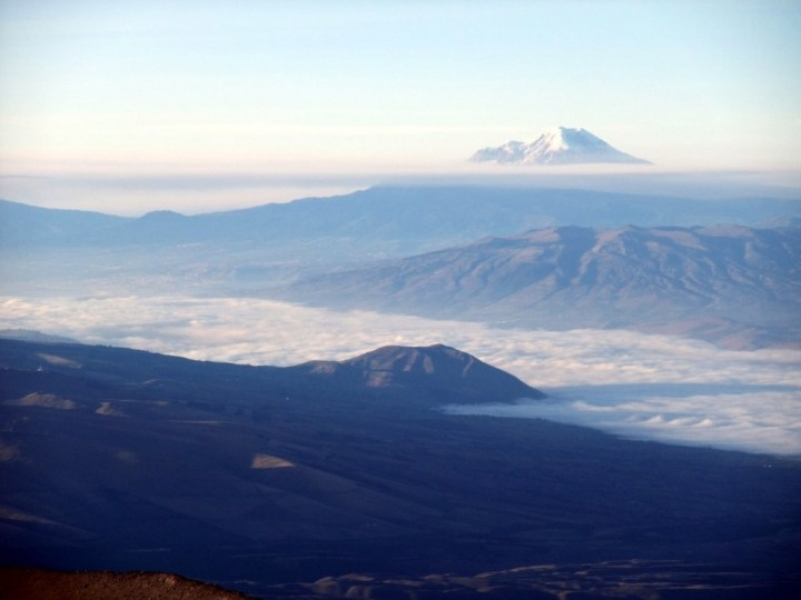 A distant view of Chimborazo from the summit of Cotopaxi