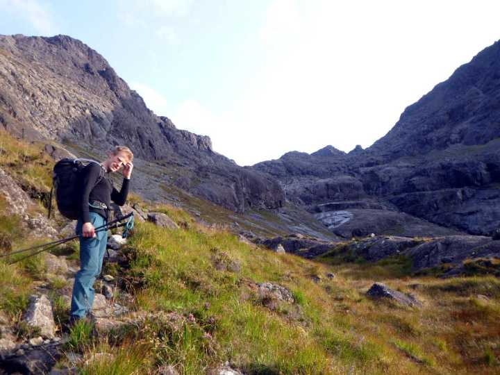 Dave pauses below Coir a' Ghrunnda to tell us about his flying accident