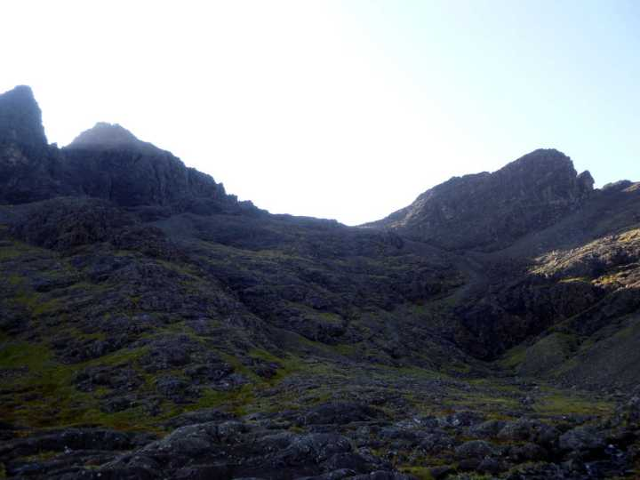 In Coire a Bhasteir, with Am Basteir up ahead and figures on their way up to the col