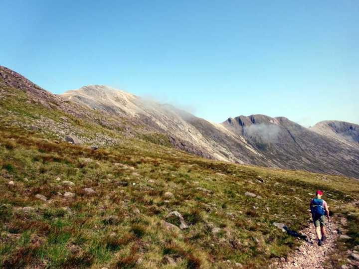 Returning down Coire Lair, with Beinn Liath Mhor and its ridge on the left
