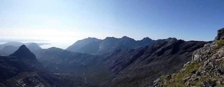 The main part of the Cuillin Ridge from the col. The 5 high points on the ridge are: Sgurr nan Eag, Sgurr Dubh Mor, Sgurr Alasdair, Sgurr Dearg (and the In Pinn), and the twin summits of Sgurr a Ghreadaidh.