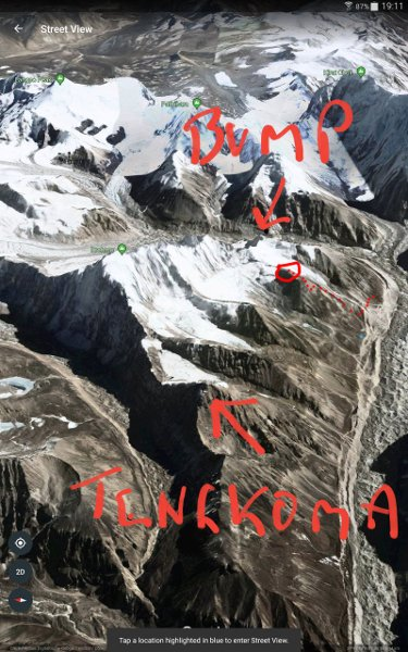 Jamie and I exchanged this Google Earth image trying to identify his peak. I drew on the likely location of his bump. He put a dotted line on indicating the actual location. We ended up climbing neither.