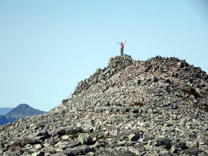 Edita waves from the summit of Beinn Liath Mhor