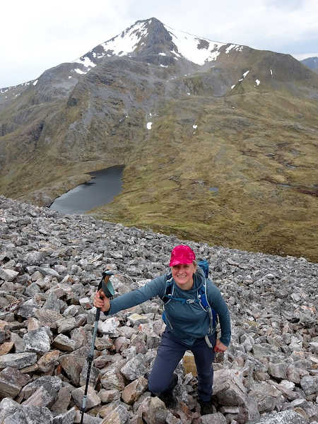 Scaling the west flank of Binnein Beag. I can't believe Edita's smiling.