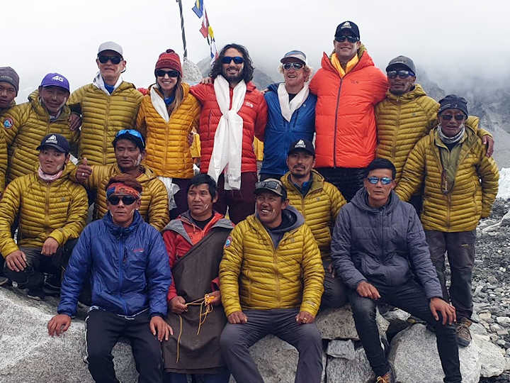 Madison Mountaineering's autumn 2019 Everest team at their base camp puja. Garrett is third right and Zachary fifth right. Reports that Zachary is also suing his barber for not completing the job are not true. (Photo: Madison Mountaineering)