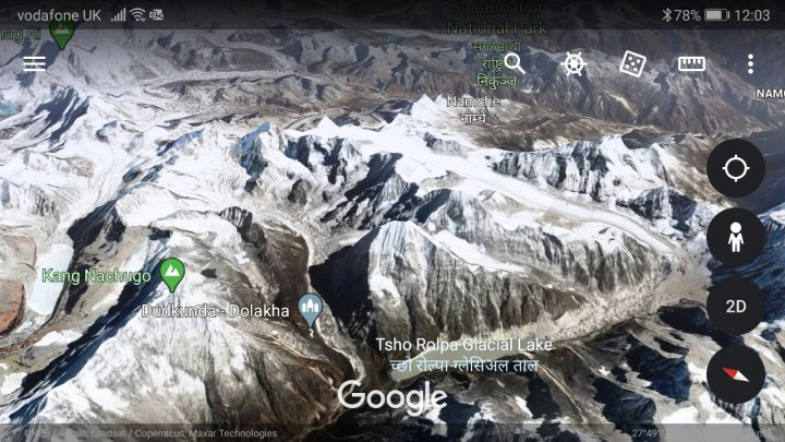 Google Earth image of the Rolwaling peaks, looking towards Everest