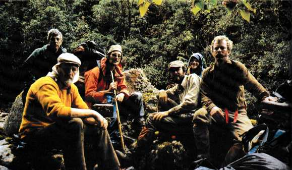 Joe Brown (top left), Hamish MacInnes (bottom left) and their team of would-be treasure hunters in Ecuador's Llanganates Mountains (Photo: Hamish MacInnes)