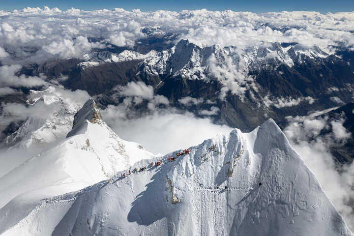 Manaslu's summit approach photographed by drone, with climbers approaching the fore-summit (Photo: Jackson Groves / Facebook)