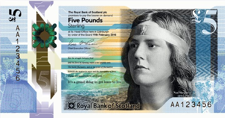 In 2016 Nan Shepherd's face even appeared on a Scottish £5 note