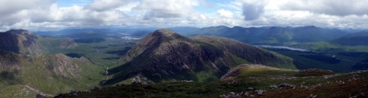Panorama of Rannoch Moor, Stob a'Choire Odhair and Loch Tulla from high on Stob Ghabhar