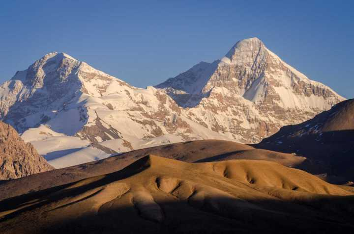 Pik Dankova, Kyrgyzstan (5,982m) at sunset from one of its foothills (Photo: Christian Bock, www.christian-bock.net)