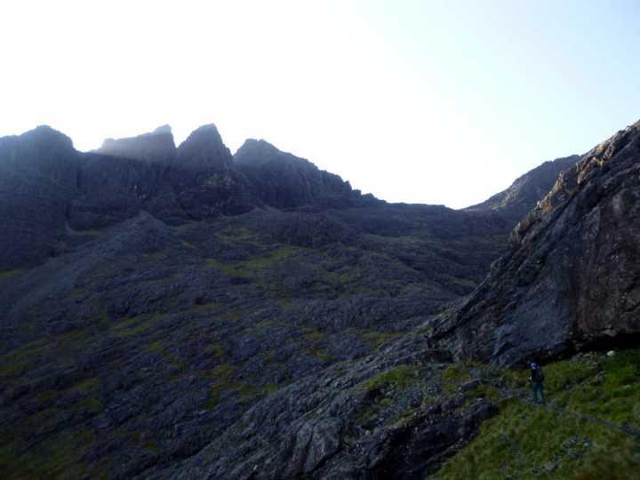 Ascending into Coire a Bhasteir, with Sgurr nan Gillean's Pinnacle Ridge on the left