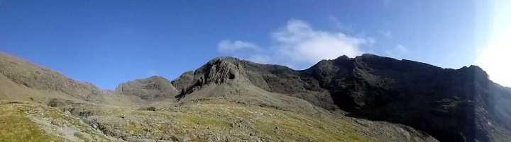 Panorama of Sgurr a Mhadaidh, Sgurr a Ghreadaidh and Sgurr na Banachdich