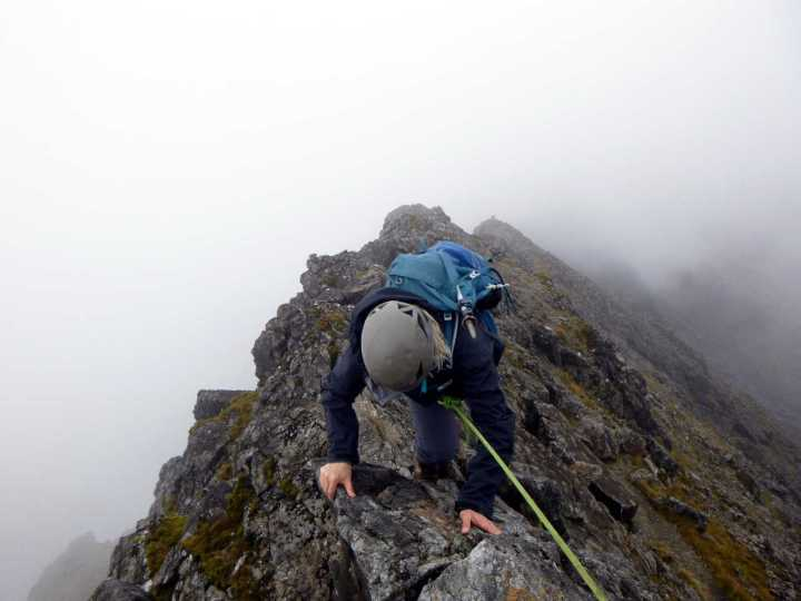 Scrambling along the knife-edge ridge