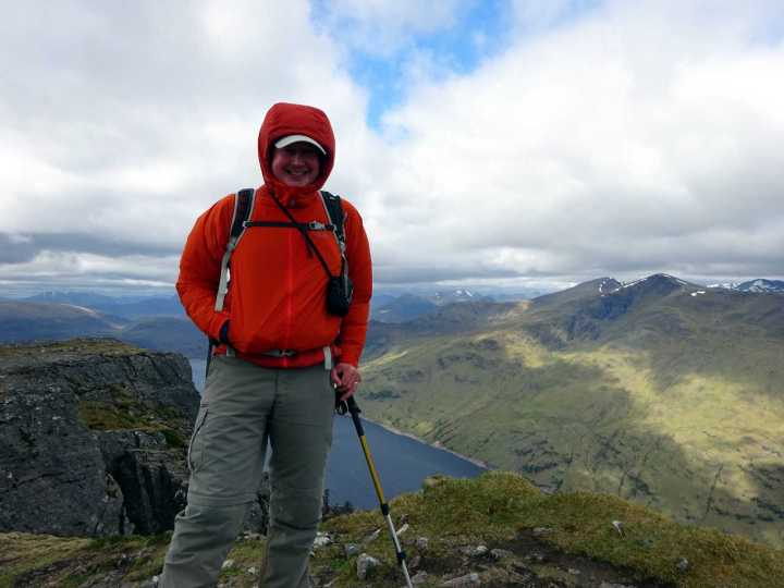 On the summit of Stob Coire Sgriodain with Loch Treig below the Easains beyond