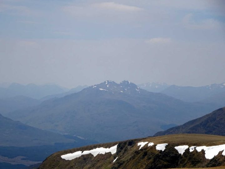 The twin summits of the Easains seen from Creag Meagaidh