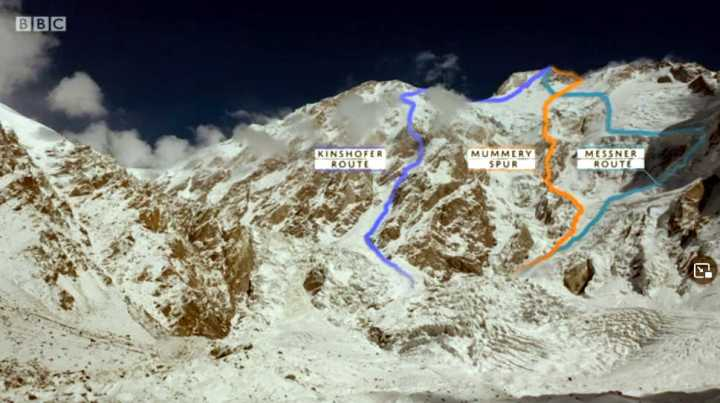 Nanga Parbat climbing routes: the Kinshofer Route, Mummery Spur and Messner Route (Photo: BBC iPlayer / The Last Mountain)