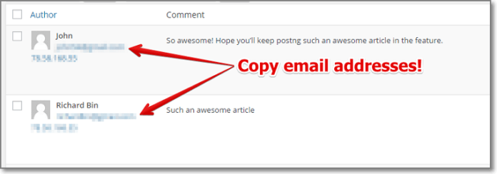 In order to get their email address your comments manager and go through all the comments