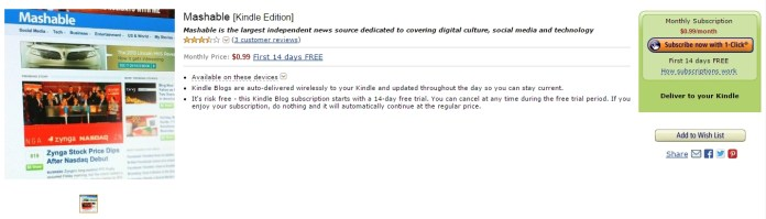 Mashable on Amazon Kindle