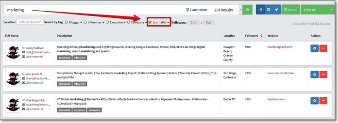 Use Ninja Outreach Social Prospecting Tool to Find Journalists