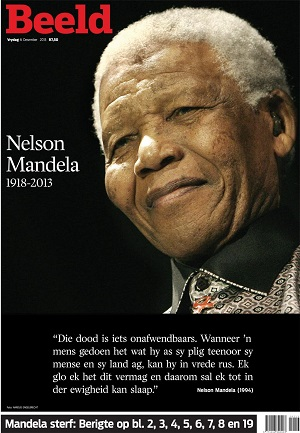 Beeld front page 6 December 2013 — Madiba