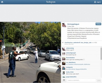 Instagram tommmygotagun Helen Zille directing traffic
