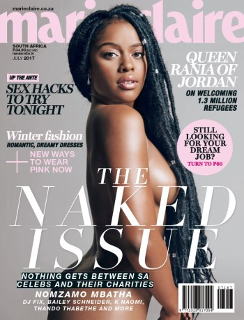 Marie Claire, Naked Issue, July 2017 - Nomzamo Mbatha