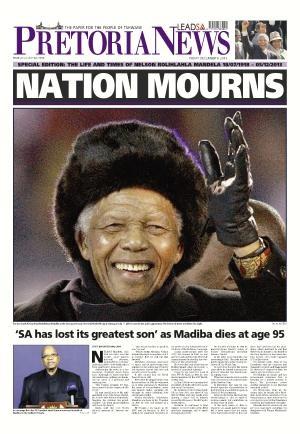 Pretoria News front page 6 December 2013 — Madiba