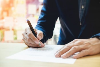 pen and paper slider from Shutterstock