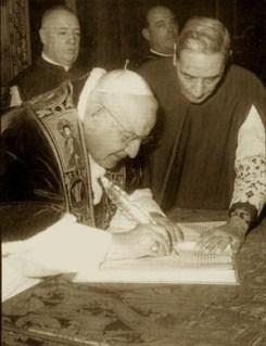 Pope John XXIII signing Vatican II