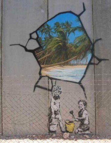 Banksy mural on the wall at Bethlehem (Markus Ortner)