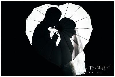 Heart umbrella silhouette