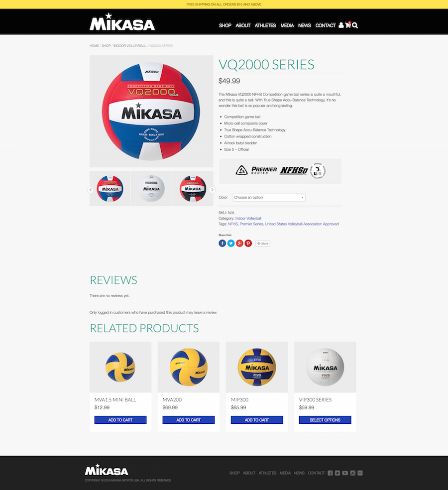 Mikasa Sports Product Page