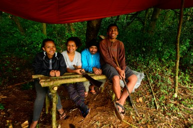 The students of the expedition, from left to right: Onja, Safidy, Ricky, and Jary