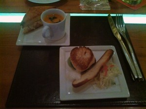 Scallop and Grilled Cheese with Tomato Soup at American Fish at Aria