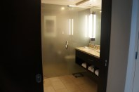 Main view of bathroom with frosted glass.