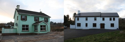 Before and after photos of house refurbishment and extension - County Galway
