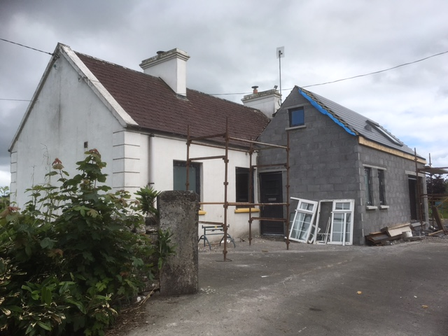 Double pitched Irish cottage extension - new entrance