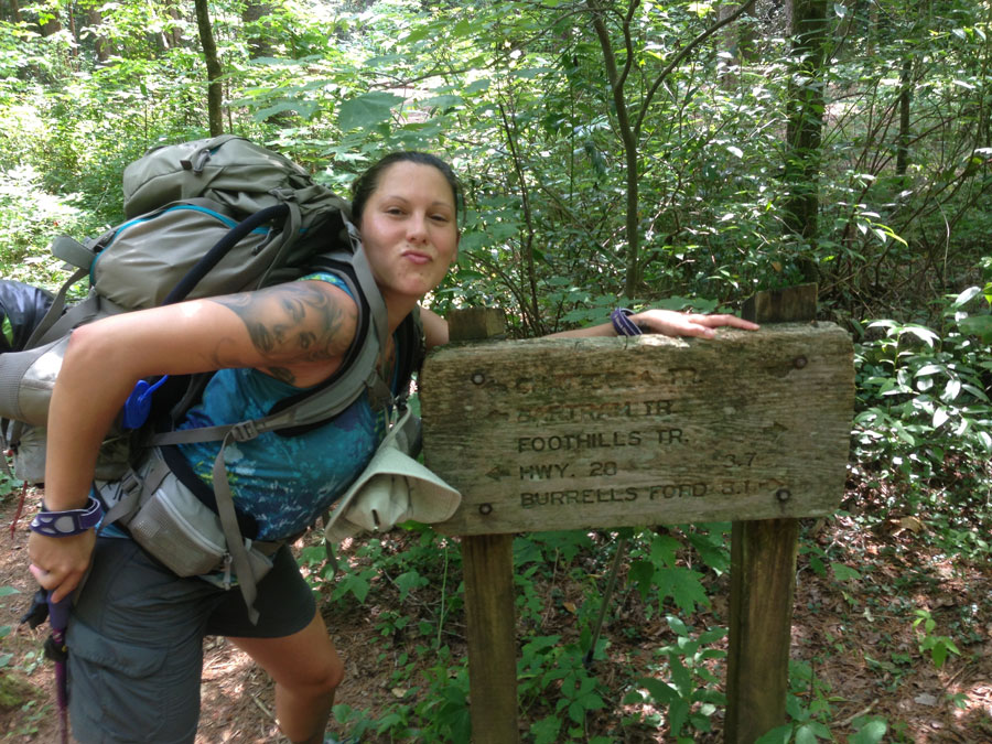 christina backpacking on foothills trail