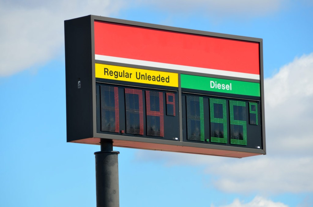sign with diesel and gas prices