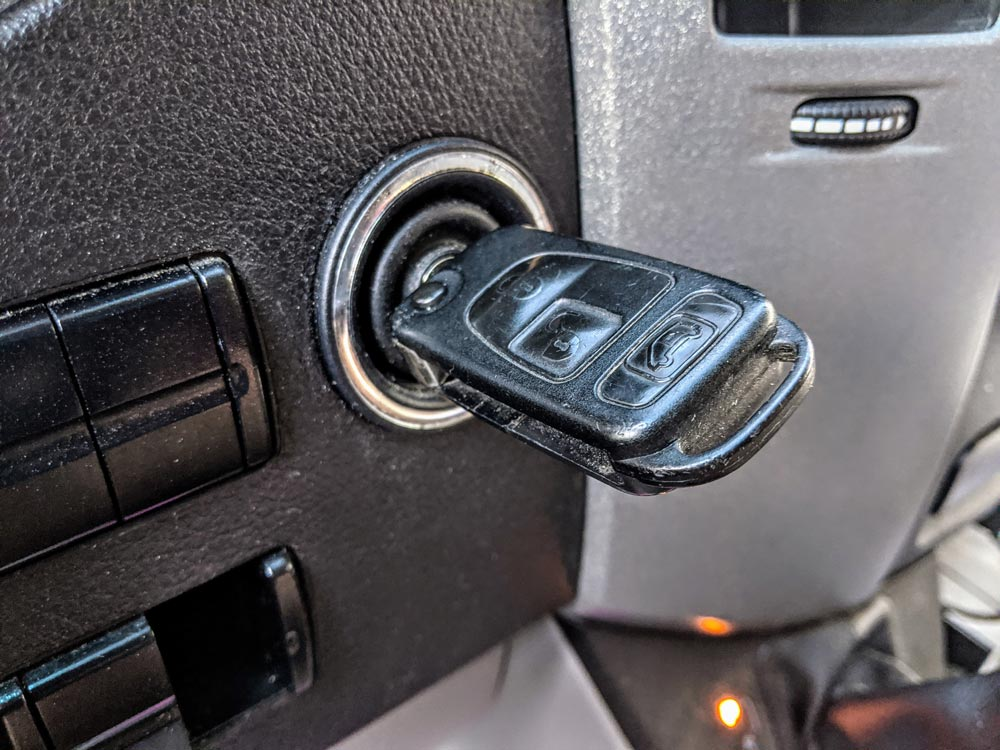key in ignition to start van life