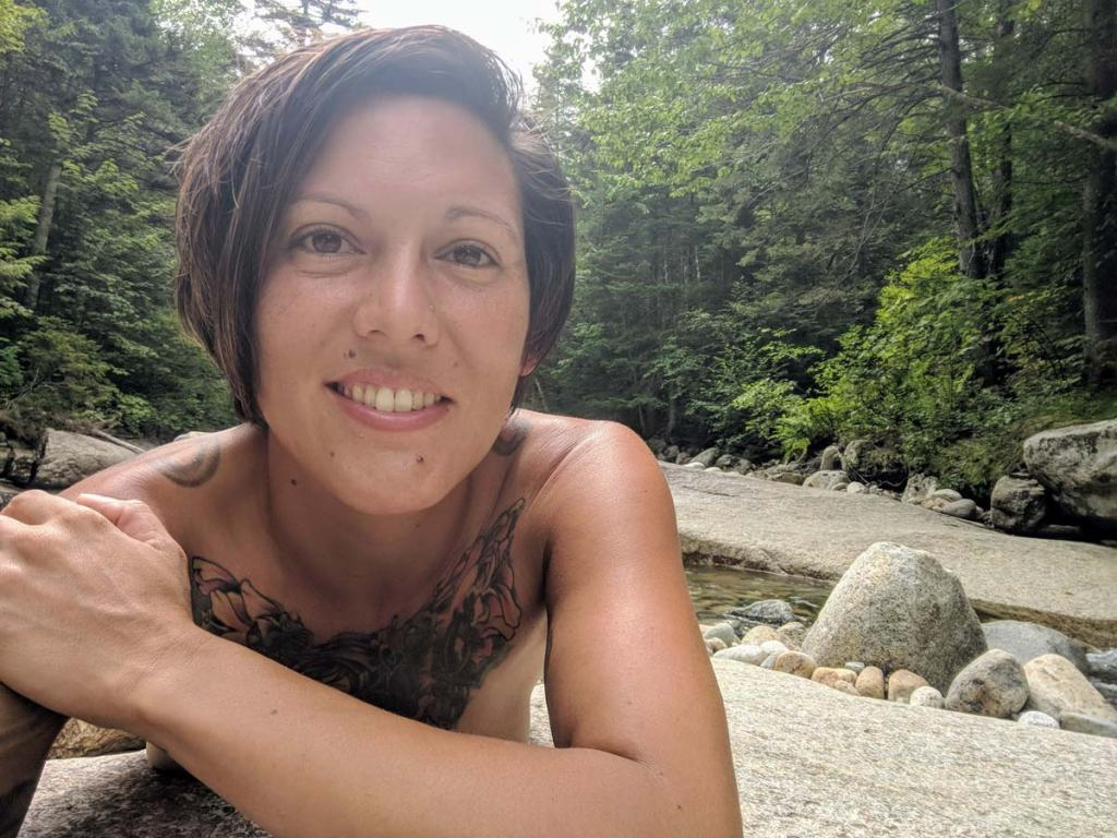 christina by a stream in new hampshire