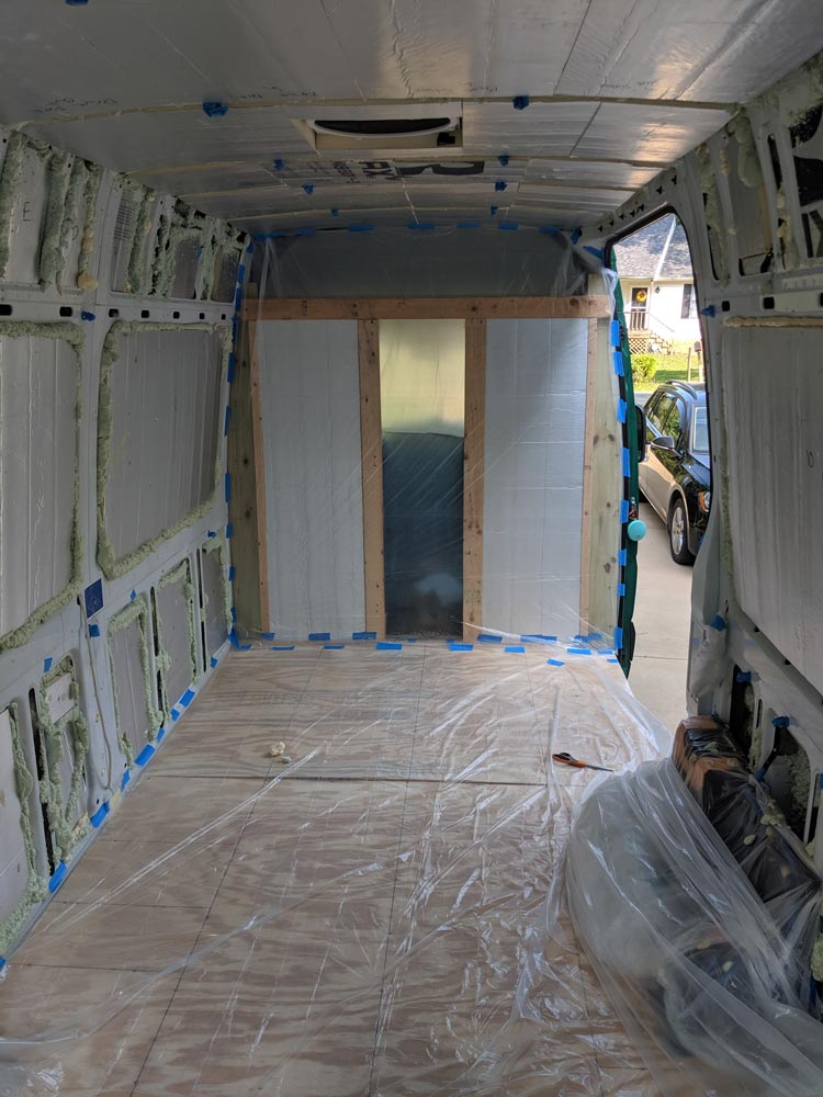 van insulation on walls and ceiling