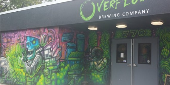 The front entrance of Overflow Brewing Compang in St. Petersburg, Florida