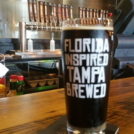 A pint of Day Swim Porter at Coppertail Brewing Co in Tampa, Florida
