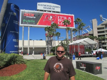 Mark the Ticket Guy in front of Raymond James Stadium home of the Tampa Bay Buccaneers
