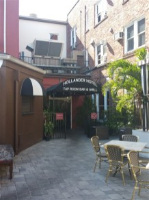 The back entrance to the Tap Room Bar and Grill at the Hollander Hotel in St. Petersburg, FL