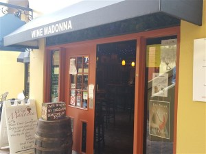 The entrance of Wine Madonna in downtown St Pete in Tower Plaza Court Yard