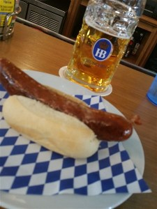 A Bratwurst and a liter of Octoberfest beer at Hofbrauhaus in St. Pete, FL
